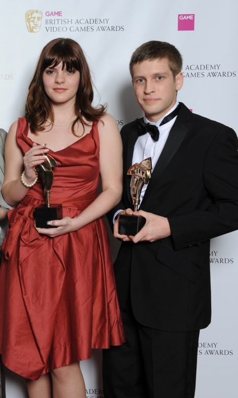 V&A Game Designer Sophia George - BAFTA awards 2012 - with Swallowtail co founder Kristian Francis