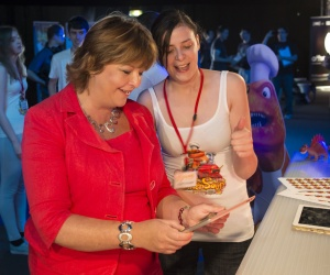 Dare ProtoPlay games festival 1 - Culture Secretary Fiona Hyslop with student Stephanie Bazeley